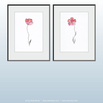 Modern minimalist flower illustration. Watercolor and ink drawing. Original floral art A4. Great for gallery wall!