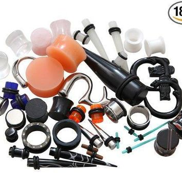 BodyJ4You Random Kit Mix Gauges Tapers Plugs Tunnels Ear Stretching Piercing Jewelry 18PCS
