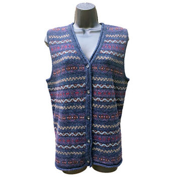 Vintage Eddie Bauer Sweater Vest - 100% Wool - Button-Up Cardigan Style - Blue Heather, Fair Isle Design - Women's Size Medium (M)