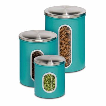Honey-Can-Do™ KCH-01312 Steel Nested Storage Canister Containers, Blue, 3-Pk