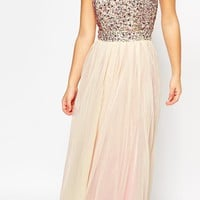 Maya Petite Embellished Bodice Tulle Maxi Dress