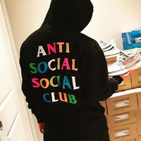 VONEYW7 anti social social club rainbow letters men and women hooded hooded sweater