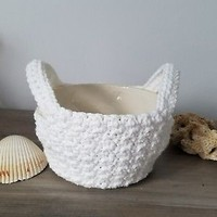 Microwave Bowl Pot Holder Handled Carrier Cozy Crochet 100% White Cotton Yarn