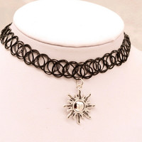 Tattoo Choker Necklace with Sun Pendant + Gift Box-31