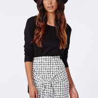 ROSIEE GRID PRINT WAIST TIE MINI SKIRT
