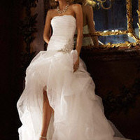 Organza and Tulle High-Low Gown with Beaded Flower - David's Bridal