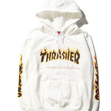 DCCKUNT Trendy Thrasher Print Long Sleeve Loose Hoodies Sweater Pullover