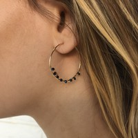 No Drama Bead Hoop Earrings in Black