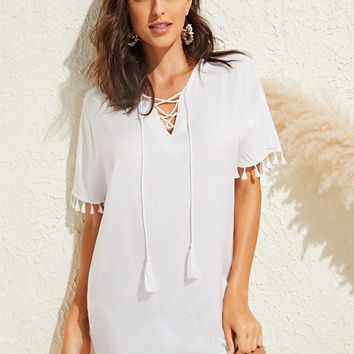 Lace Up Tassel Hem Solid Tunic Cover Up