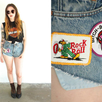 Vintage LEVI'S PATCHED Denim Cutoff High Waist Shorts // Frayed Cheeky // Medium Wash // Hipster Biker Boho Gypsy Grunge // Small