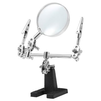 New Precise Angle Design Helping Hand Magnifying Glass 2 Alligator Clamps Loupe Desk Magnifier Lamp Jewelry Watch Repair Tool