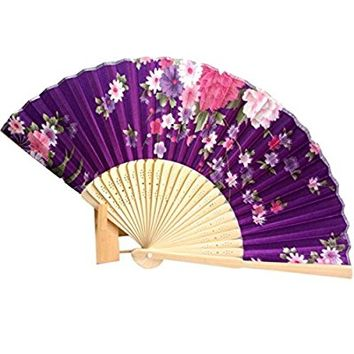 Binmer(TM) Japanese Cherry Blossom Folding Hand Dancing Wedding Party Decor Fan Chinese Fans (Purple)