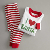 Christmas Women Men Adult Striped Pajamas Sleepwear Nightwear Clothes Xmas Clothes new