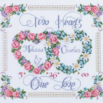 """14""""X12"""" 14 Count Two Hearts, One Love Counted Cross Stitch Kit"""
