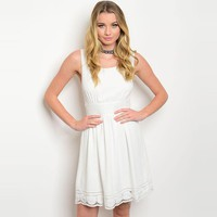 Shop The Trends Women's Sleeveless Skater Dress With Fitted Waist And Crochet Hem