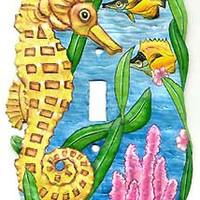 Switchplate - Seahorse Switch Plate Cover - Painted Metal Nautical Design - Handcrafted in Haiti from recycled steel oil drums - S-1022-1