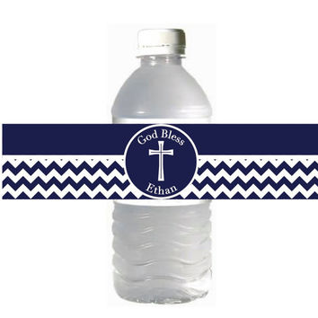 First Holy Communion Water Bottle Labels Printable Navy Blue Grey Chevron Cross INSTANT DOWNLOAD Baptism Religious Confirmation - 051