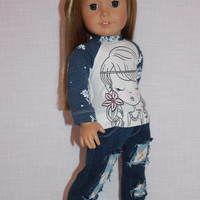 18 inch doll clothes,  girl with flower graphic print shirt, dark blue ripped skinny jeans with lace underlay,  Upbeat petites