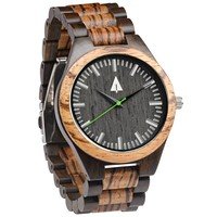 All Wood Watch // Zebrawood + Ebony 31 Green