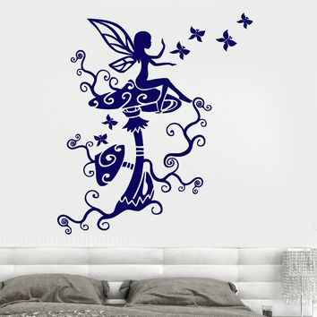 Wall Vinyl Sticker Fairy Fairytale Mushroom Nursery Kids Room Decor Unique Gift z3672