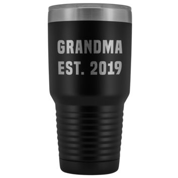 Grandma Est 2019 Coffee Tumbler New Grandmother Reveal Gifts Metal Mug Double Wall Vacuum Insulated Hot Cold Travel Cup 30oz BPA Free