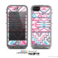 The Vector Pink & White Modern Aztec Pattern Skin for the Apple iPhone 5c LifeProof Case