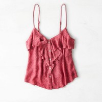 AEO 's Ruffled Button Front Tank