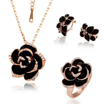 Dazzle Flash Black Flower Rose Gold Plated Jewelry Sets