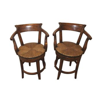Pre-owned French Country Swivel Counter Stools - A Pair