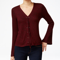 Material Girl Juniors' Lace-Up Bell-Sleeve Top, Only at Macy's - Juniors Material Girl - Macy's