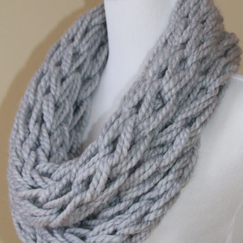 Arm Knit Infinity Scarf, Women's Chunky Knit Scarf, Made to Order