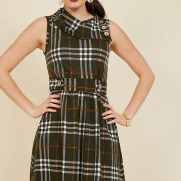 Coach Tour A-Line Dress in Olive Plaid