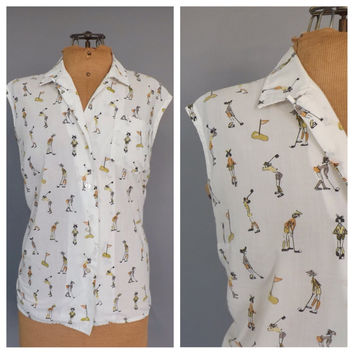 Vintage 1960s Novelty Print Cotton Button Up Blouse Puttabouts Top Shirt Golfer Women Rockabilly Medium 1950's Golf Shirt Tank Top