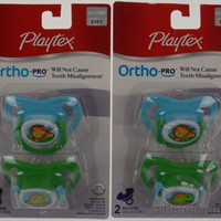 Playtex OrthoPro Silicone Pacifier Set 2 6m+ Blue Baby Lion Dinosaur Orthodontic