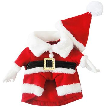 Santa Claus Dog Costume Christmas Pet Dress Up Products With Hat Puppy Dog Cat Supplies Outwear Clothes Red Black Belt Coats
