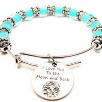I Love You to the Moon and Back Celestial Sky Blue Glass Beaded Bangle Adjustable Bracelet