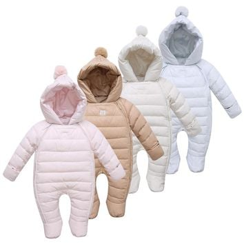 Hot Sale! Baby Rompers Newborn Baby Girl Thermal Duck Down Winter Snowsuit Baby Cute Hooded Jumpsuit  Newborn Baby Boy Clothes