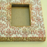 Set of 3 Wallet Sized Picture Frames Dark Red/Orange Damask - Shabby Chic