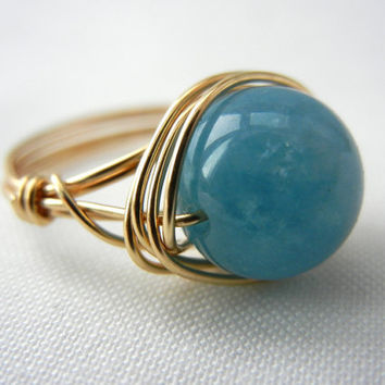Wire Wrapped Jewelry Handmade, Sea Blue Quartz Ring, Quartz Jewelry, Blue Stone Ring, Blue Quartz Ring, Wire Wrap Ring