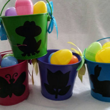 Tin buckets w/ frog butterfly flower and bunny can be personalized with names, family name, or monogram to accent a party, Easter, or mantle