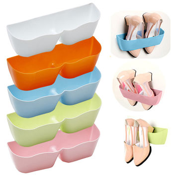 Creative Adhesive Shoe Rack Plastic Shoe Shelf Stand Wall Hanging Shoes Storage Organizer Hanger 3M Stickers LS