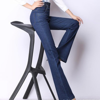 New autumn and winter high waist jeans straight Korean casual pants Plus Size wide leg stretch jeans