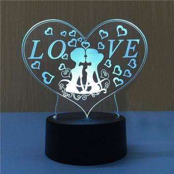 3D Heart Shape Lamp Multicolor LED Lights Touch USB Remote Control Night Light Table Lamp for Couple Romantic Night Valentine's Day Mother's Day Gift (Kiss)