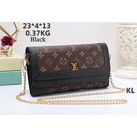 LV Louis Vuitton 2018 new fashion casual shoulder diagonal pouch chain bag F-OM-NBPF black