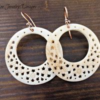 Go Go or hoop antiqued cream bone earrings. Ear wire choice sterling silver or copper.