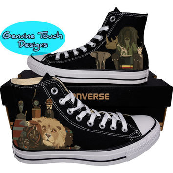Custom Converse, African Tribal shoes, Tribal shoes, Custom chucks, painted shoes, personalized converse hi tops
