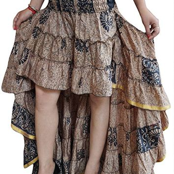 Mogul Interior Women Hi Low Skirt Vintage Recycled Sari Cherished Cheer Full Flare Tiered Ruffle Flirty Skirts S/M (Beige)