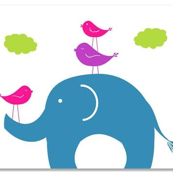 Elephant and Birds Print Wall Art