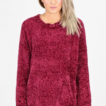 Softest Luxury Chenille Oversized Sweater {Burgundy}