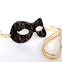 Pure Black and Gold Lace Masquerade Mask Masked Ball Party Prom Mask